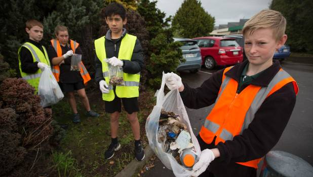 Litterbugs and cigarette dumpers dismay Ross Intermediate kids  | Stuff.co.nz