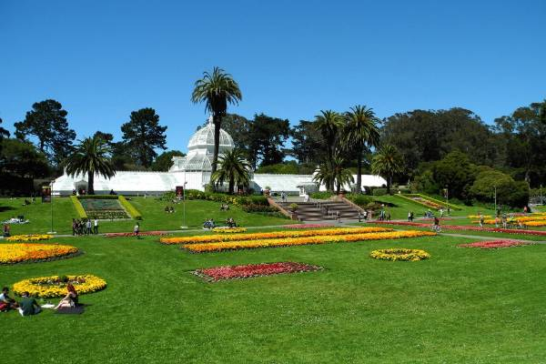 San Francisco's Conservatory of Flowers on a warm, sunny day in Golden Gate Park. Image was taken with a Nikon Coolpix ...