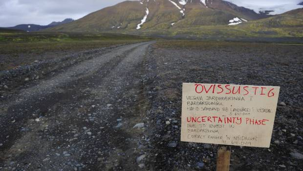 TURN BACK NOW: A warning sign blocks the road to Bardarbunga volcano, some 20 kilometres away, in the north-west region ...