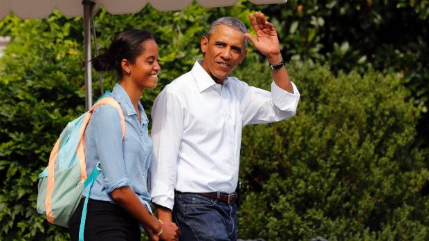 BROKEN BREAK: Obama and daughter Malia prepare to return to Martha's Vineyard during their family holiday. Obama made ...