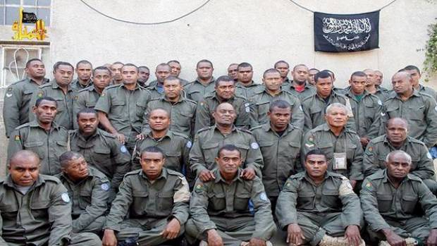 This photo, tweeted by an al-Qaeda linked Syrian rebel group, is thought to show 38 of the 44 Fiji soldiers they are ...