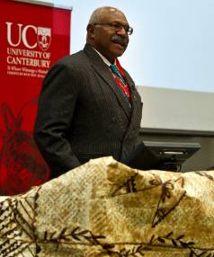 Sitiveni Rabuka speaks at a Canterbury University's Democracy in the Pacific forum in 2012.