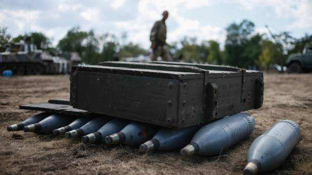 Shells are seen in a Ukrainian army camp