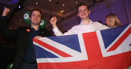 """Better Together"" supporters celebrate at the campaign Headquarters at the Marriott Hotel in Glasgow."