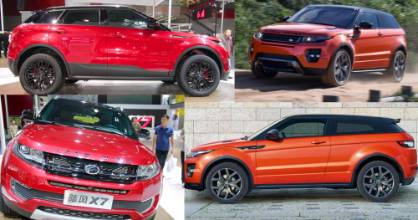 SPOT THE DIFFERENCE: The newly released Chinese LandWind X7 (left photos) bears a striking resemblance to Land Rover's Range Rover Evoque.