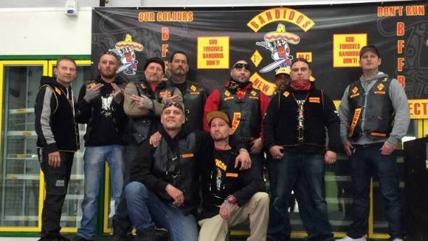 BANDIDOS: Gang members, including several from Christchurch, pose for a picture.