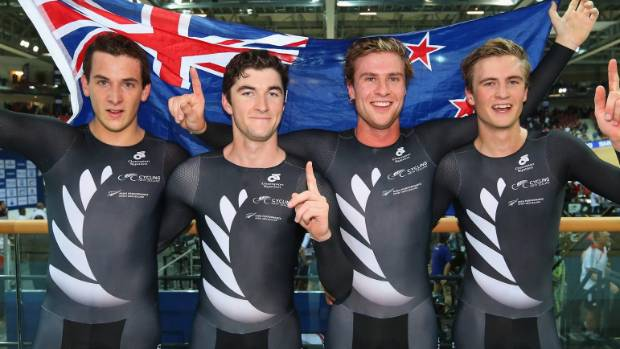 World champion New Zealand men's team pursuit track cyclists Pieter Bulling, Regan Gough, Dylan Kennett and Alex Frame.