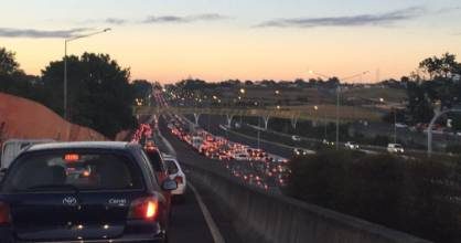 CLOGGED: Heavy traffic this morning on the northwestern motorway.