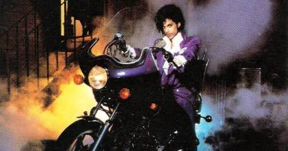 Prince aboard his beloved Honda on the cover of his 1984 album, Purple Rain.