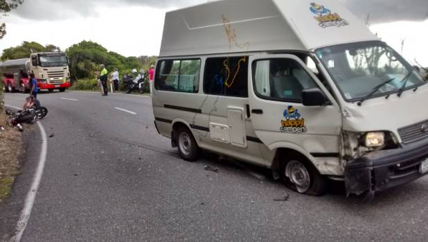 A motorcyclist remains in hospital after colliding with a campervan on State Highway 6 on March 13.