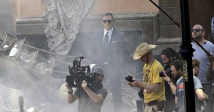 ACTION: British actor Daniel Craig  looks on while filming the James Bond 007 film 'Spectre'.