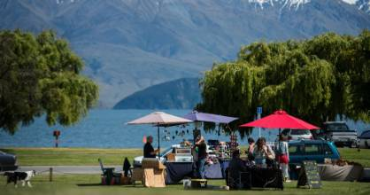 A local market near Wanaka lake.