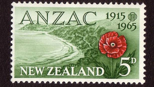 The New Zealand 5d stamp for featured a red poppy as well as the small stylised poppy.