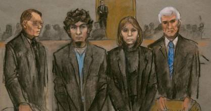 Boston Marathon bomber Dzhokhar Tsarnaev (second left) with his defence lawyers as the guilty verdict was read.