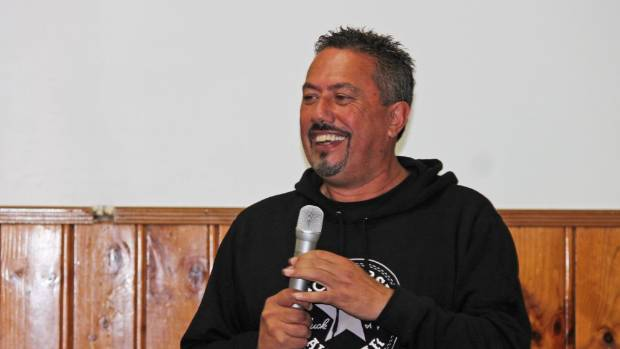 Mike King pictured talking about his Key to Life charity aimed at teaching high school students about how he beat depression.