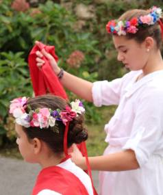 Children dressed to celebrate at one of the many festivals held each year in south-west France.