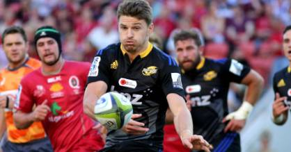 BRISBANE, AUSTRALIA - APRIL 26: Beauden Barrett of the Hurricanes passes  during the round 11 Super Rugby match between the Reds and the Hurricanes at Suncorp Stadium on April 26, 2015 in Brisbane, Australia. (Photo by David Kapernick/Getty Images)
