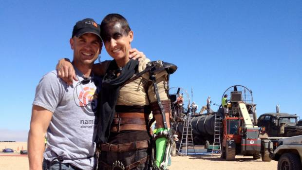 Kiwi stunt performer couple Dane and Dayna Grant on the set of Mad Max: Fury Road where they met and fell in love.