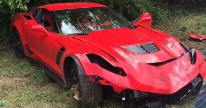 The wrecked Corvette Z06.