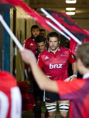 Richie McCaw and Dan Carter run onto Nelson's Trafalgar Park for their last home game for the Crusaders.