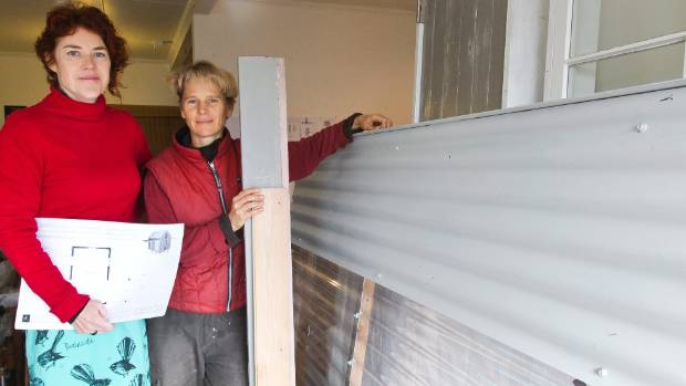 Architectural designer Lyn Russell and artist Nic Moon worked together on the Cocoon House for the Whole House ReUse project made from the materials of a demolished Christchurch Earthquake home.