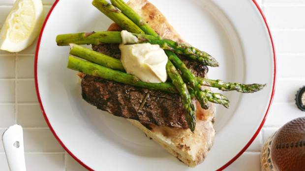 Recipe: Grilled lamb with asparagus & anchovy aioli | Stuff.co.nz