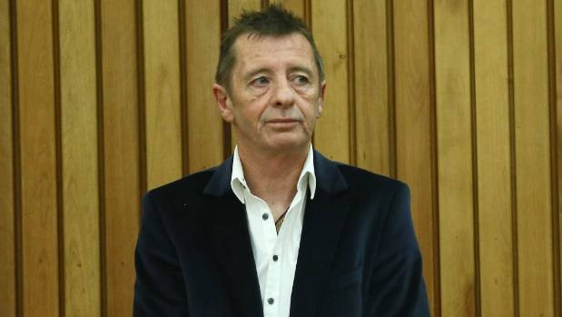 Former ACDC drummer Phil Rudd appearing at his sentencing in the Tauranga District Court on July 9.