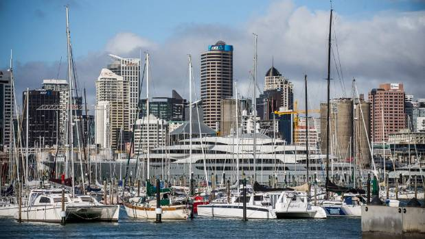 A Russian billionaire's superyacht, Ocean Victory, berthed in downtown Auckland.