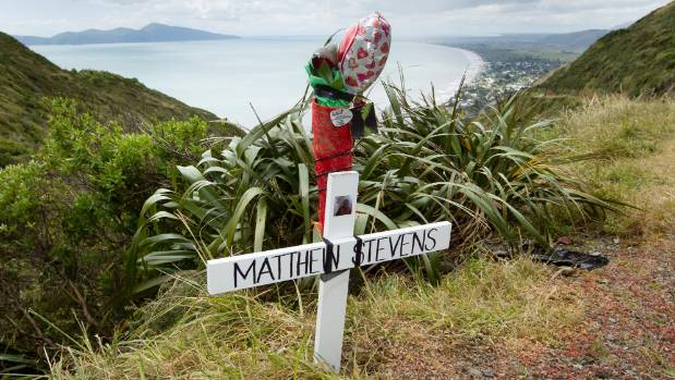 The site on Paekakariki Hill Road where Matthew Stevens' body and car were found.