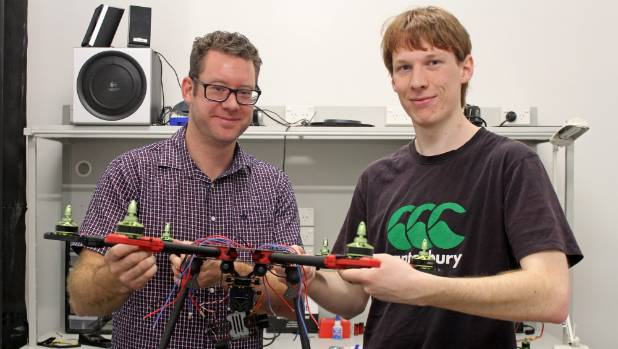 Howick brothers Mat Rowe and Seamus Rowe with the beginnings of their drone design. The third brother Shaun Pentecost, 35, who couldn't make it along for the photo, is looking after the drone's coding.