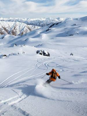 A skier in action at the new ski area, Soho Basin, which has more than 260ha of terrain.