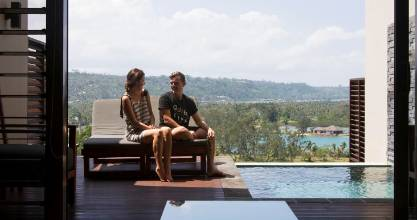 Becky Roberts and Tom Leuschke at the apartments they manage in Port Vila.