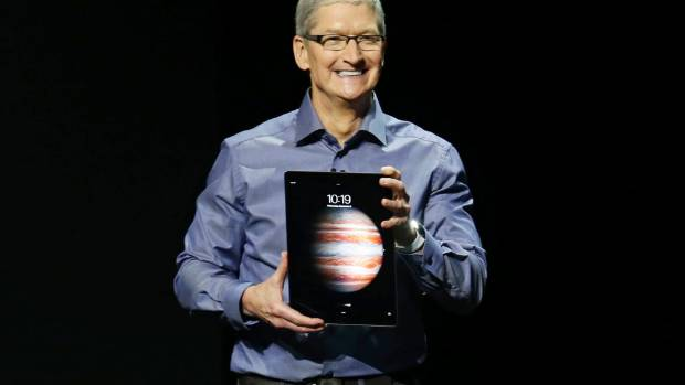 Apple chief executive Tim Cook introduces the new iPad Pro.