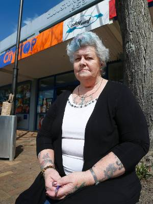 Upper Hutt woman Lesley Sole, 63, outside the shop where she tried to disarm a gun-wielding man on September 8 and witnessed his shooting by police.
