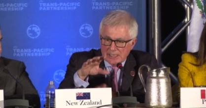 Trade Minister Tim Groser at the Trans-Pacific Partnership press conference.