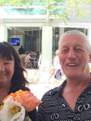 Ann Bodkin and her husband Graham Richardson holidaying on the Gold Coast.