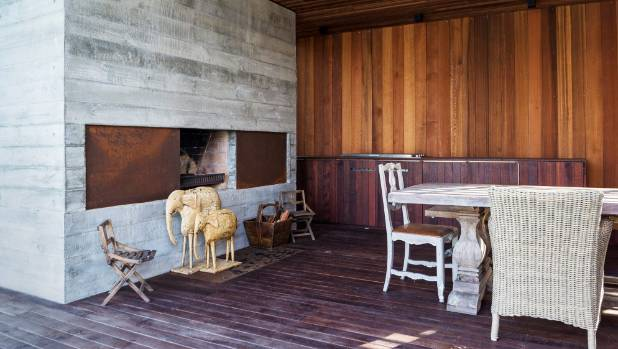 Other special features of the pavilion include a wood-burning fire and an outdoor kitchen.