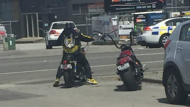 Police stopped about 40 patched riders as they headed through Timaru on Wednesday afternoon.