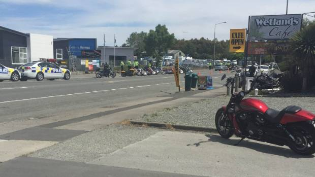 Police set up a random check point as members of the Greasy Dogs passed through Timaru on Wednesday.