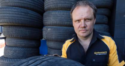 """How safe would you feel with that barrelling down the road towards you?"" Adrian Curtis of Tyres & More,"