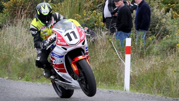 Tony Rees, of Whakatane, races up Bluff Hill during the 10th Burt Munro Challenge.