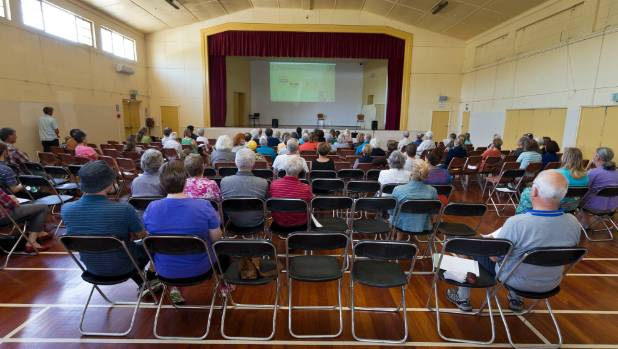 Nelson residents attend a community meeting on water fluoridation at Stoke Memorial Hall on Saturday.