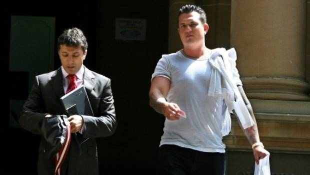 Hells Angel member Wayne Rodney Schneider, right, outside court in Sydney, in 2008.