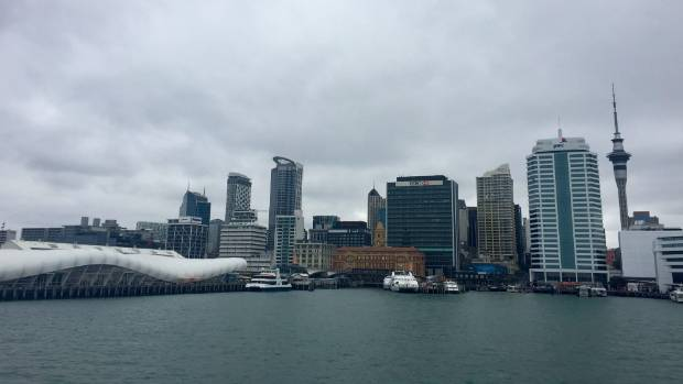 Looking back on Auckland from the ferry.