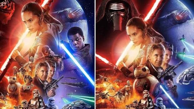 China's version of the Star Wars promo poster (right) is criticised for apparently sidelining one of the film's stars.