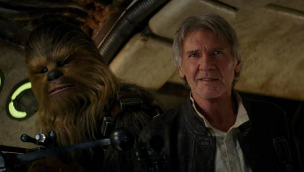 The long-awaited return: Han Solo (Harrison Ford) and Chewbacca (Peter Mayhew) in Star Wars: The Force Awakens.