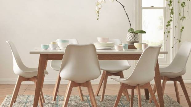 The Scandi influence in furniture, such as this Frieda dining suite from Freedom Furniture, remains strong for 2016, along with pastel-coloured homewares.