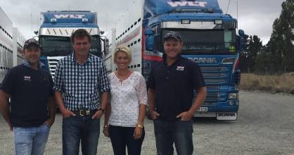 Sam and Sara Orsborn (centre) with their original customers Stu Taylor (left) and Henry Bunny.
