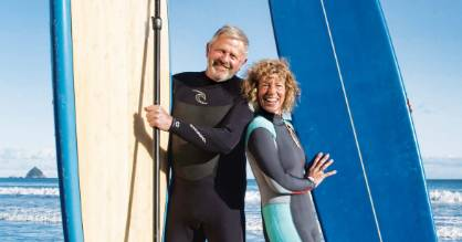Arch Arthur and Daisy Day have been together for 30 years since meeting at one of Arch'€™s surf shops in New Plymouth.