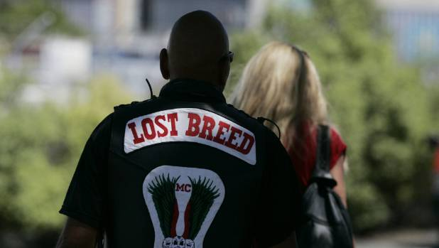 A patched member of the Lost Breed motorcycle club in Nelson.